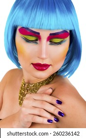 Portrait of a style model  woman with blue hair and  colorful eyes.