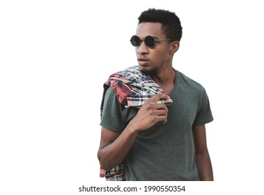 Portrait of stylish african man wearing a black sunglasses looking away isolated on a white background