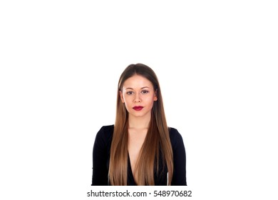 Portrait of stylish girl with red lips isolated on a white background
