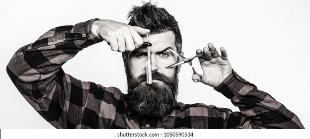 Portrait of stylish man beard. Bearded man, bearded male. Barber scissors, barber shop. Vintage barbershop, shaving. Portrait of unshaven mans. Black and white.