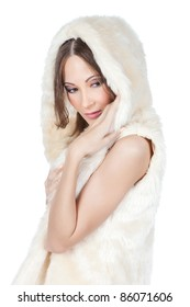 Portrait of stylish young asian woman in fur over white background