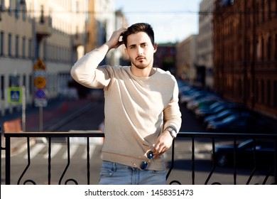Portrait of a stylish young man. Outdoor