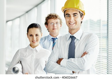 Portrait of succesful team of architects