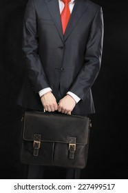 Portrait of successful business man with bag