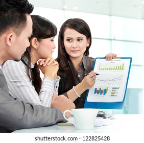 Portrait of successful business people discussing about company income