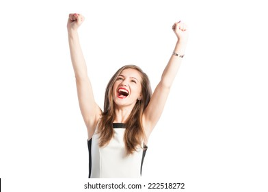 Portrait of a successful business woman raising arms up in the air and screaming for happiness