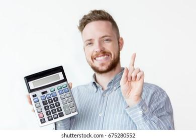 Portrait of successful businessman with calculator