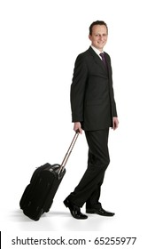 Portrait of a successful businessman with travel bag, isolated on white background