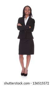 Portrait of successful businesswoman. Isolated on white