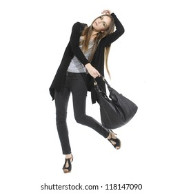 Portrait of successful celebrating with bag. isolated on white background.