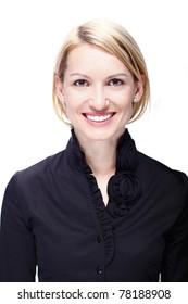 Portrait of a successful,  elegant, atractive, business woman wearing black blouse.