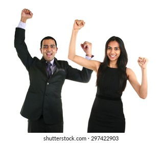 Portrait of successful and excited Asian businessman and business woman celebrating a triumph, isolated over a white background. Team work concept.
