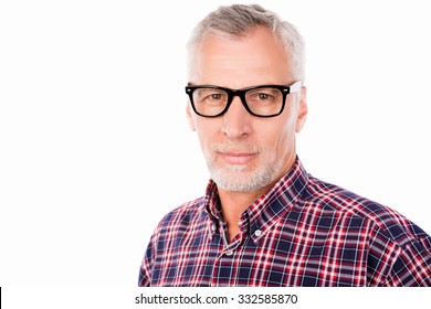 Portrait of a successful gray aged man with glasses