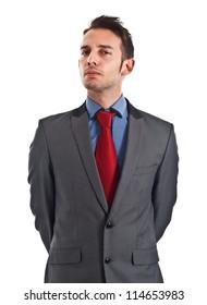Portrait of a successful handsome serious businessman