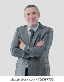 portrait of successful happy businessman in a gray business suit