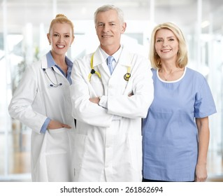 Portrait of successful medical staff standing at private clinic.