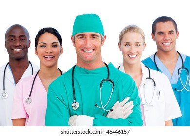 Portrait of successful medical team against a white background