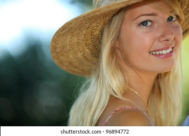 Portrait of a sun-kissed young woman