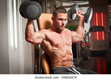 Portrait of a super fit young man working out.