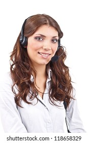 Portrait of support phone operator in headset, isolated on white background