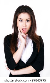 Portrait of surprised beautiful businesswoman over a white background