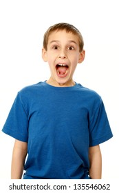 portrait of surprised boy isolated on white
