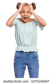 Portrait of surprised teen girl, isolated on white background. Funny child looking at camera in amazement, touching head with hands. Beautiful caucasian teenager, opening eyes and mouth with shock.