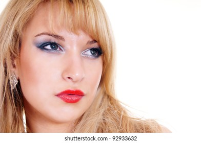 portrait of a sweet blonde face on white