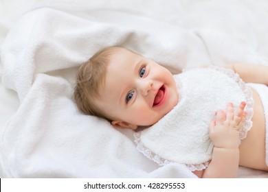 Portrait sweet happy little girl sleeping