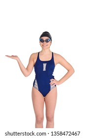 Portrait of swimmer in blue swimsuit with goggle and swimming hat. Isolated white background.