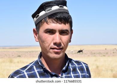 Portrait of a Tajik in a skullcap