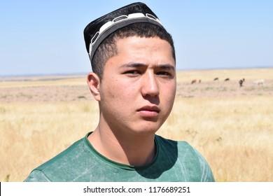 Portrait of a Tajik with a skullcap