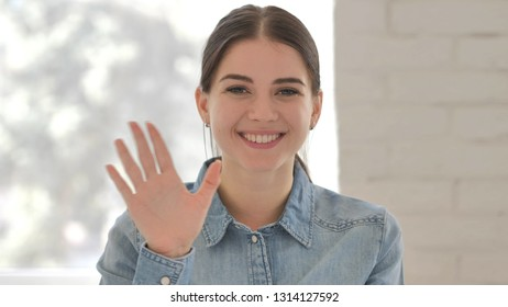 Portrait of Talking Young Girl, Online Video Chat