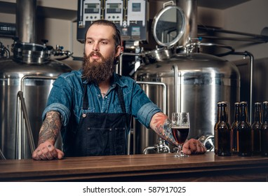 Portrait of tattooed, bearded hipster male manufacturer presenting beer microbrewery.
