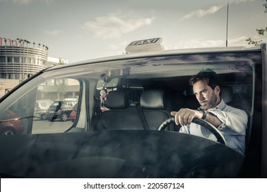 Portrait of a taxi driver