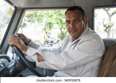 Portrait taxi driver - NEW DELHI; INDIA - MAY 17TH 2015