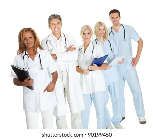 Portrait of team of confident doctors over white background