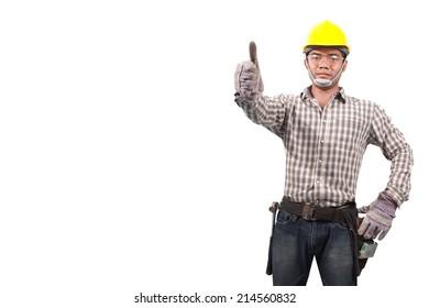 Portrait of technician builder in protective safety equipment goggles hard hat isolated on white background