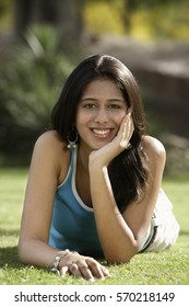 portrait of teen girl in park
