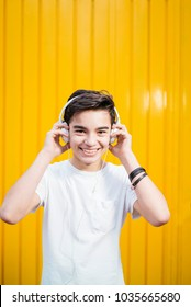 Portrait of teen smiling with headphone