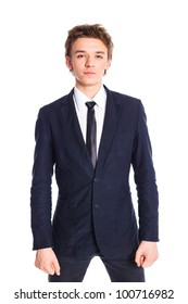 Portrait of a teenage boy in a business suit. Isolated on white background.