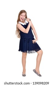 portrait of teenage girl in a blue dress singing on a white background