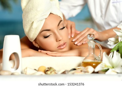 Portrait of a teenage girl at body massage