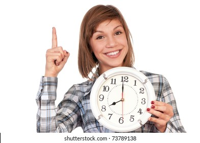 Portrait of a teenage girl with clock. Isolated on white background.