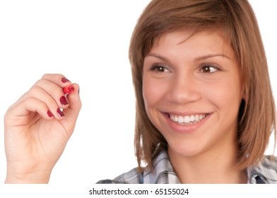 Portrait of a teenage girl with red marker. Focus on marker. Isolated on white background.