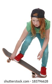 Portrait of a teenage girl with skateboard on white background