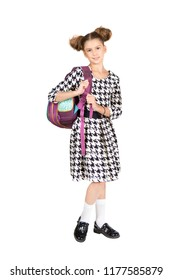 Portrait of teenager girl with school backpack isolated on white background