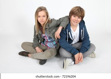 Portrait of teenagers on white background
