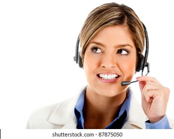 Portrait of a telemarketing agent - isolated over a white background