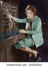 Portrait of telephone operator